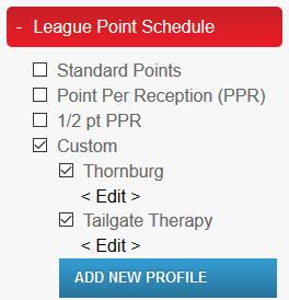 League Point Schedule