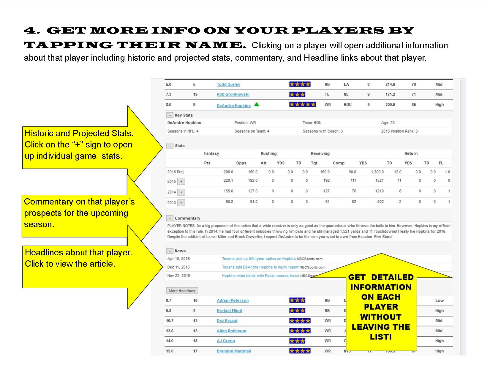 Get more information on a player by tapping on their name
