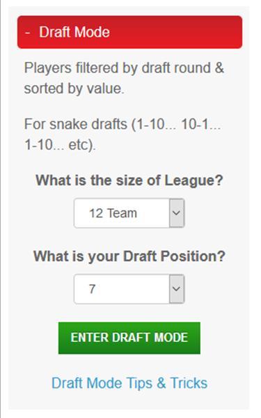 Draft Mode Tips & Tricks   Fantasy Football Maverick